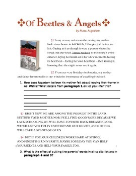 """Of Beetles & Angels"" Close reading"