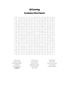 Of Cunning Vocabulary Word Search - Bacon