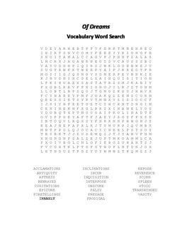Of Dreams Vocabulary Word Search - Feltham