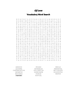 Of Love Vocabulary Word Search - Bacon