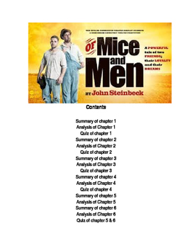 Of Mice And Men Summary, Anslysis, Quizzes