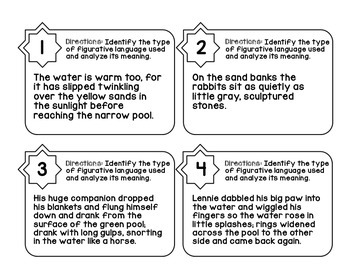 Of Mice And Men by John Steinbeck Figurative Language Task Cards