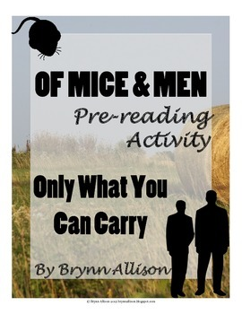 Of Mice And Men by John Steinbeck Pre-reading Bindle Activity