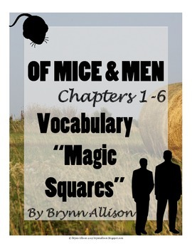 Of Mice And Men by John Steinbeck Vocabulary Activity: Magic Squares