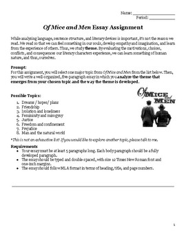 Of Mice & Men: No-Prep Essay Packet w/ Detailed Outlines & Graphic Organizers