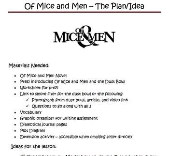 Of Mice & Men by John Steinbeck novel unit with prezi pre-