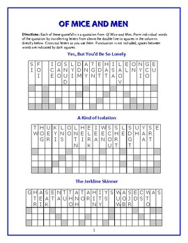 Of Mice and Men: 10 Quotefall Word Puzzle—Students love these unique puzzles!