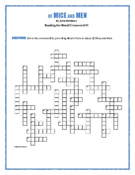 Of Mice and Men: 2 Reading-for-Detail Crosswords—Fun Competition Activity!