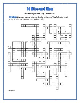 Of Mice and Men: 50-word Prereading Crossword—Use with Bookmarks Plus!