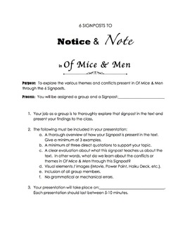 Of Mice and Men 6 Signposts Project & Presentation