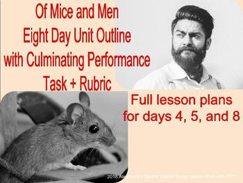 Of Mice and Men - 8 Day Unit Outline with Detailed CPT