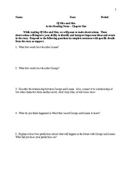 Of Mice and Men - Active Reading Notes/Study Guide - CCSS Aligned