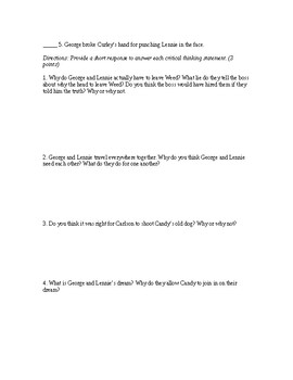 Of Mice and Men (Adapted Quizzes)
