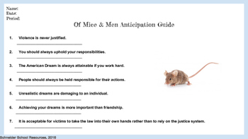 Of Mice and Men Anticipation Guide