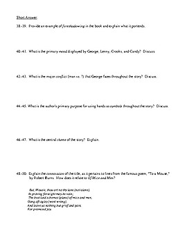 Of Mice and Men Test and Detailed Answer Key
