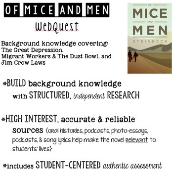 Of Mice and Men Background Information Webquest