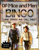 OF MICE AND MEN BINGO: INSTRUCTIONS, GAME BOARD AND CALL SHEET