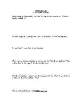 Of Mice and Men Ch. 1 Responses