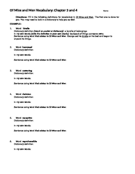 Of Mice and Men Ch. 3 and 4 Vocabulary Sheet