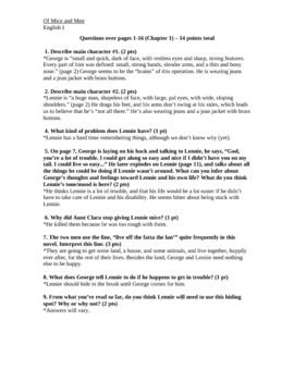Of Mice and Men Chapter 1-6 Questions