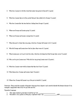 Of Mice and Men Chapter 1 Quiz (High, Medium, Low)