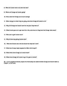 Of Mice and Men Chapter 1 Study Guide for Students