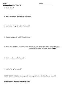 Of Mice and Men, Chapter 2, Reading Quiz