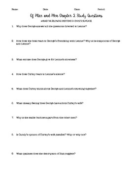 Of Mice and Men Chapter 2 Study Questions