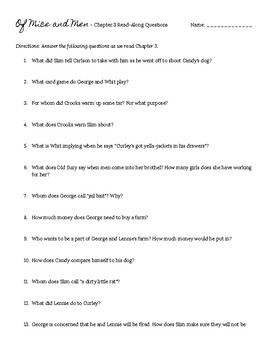 Of Mice and Men Chapter 3 Read-Along Questions