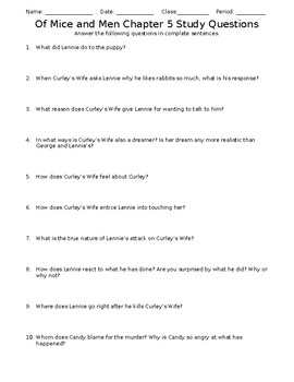 Of Mice and Men Chapter 5 Study Questions Worksheet