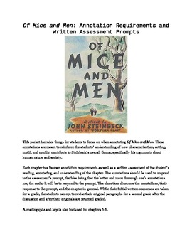 Of Mice and Men Chapter Annotations and Written Assessment Prompts