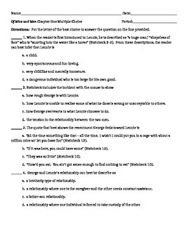 Of Mice and Men Chapter One Lesson Plan