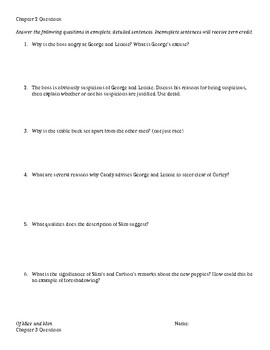 Of Mice and Men Chapter Questions