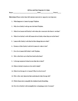 Of Mice and Men Chapter Quizzes