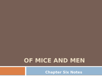 Of Mice and Men Chapter 6 Pre-Reading / Post - Reading Notes