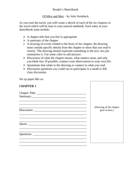 Of Mice and Men Chapter Worksheet for Lower Level