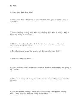 Of Mice and Men Chapters 3 and 4 Discussion Questions