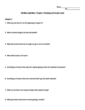 Of Mice and Men Chapters 5 & 6 Study Guide for Students