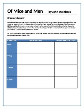 Of Mice and Men - Chapters review activity