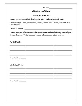 Of Mice and Men - Character Analysis Activity - John Steinbeck
