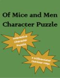 Of Mice and Men Character Puzzle and Differentiated Charac