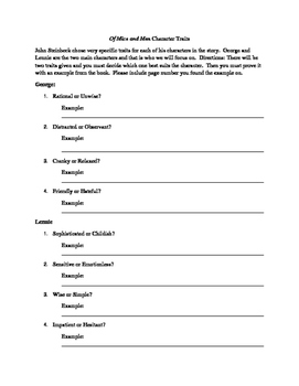 Of Mice and Men Character Traits Worksheet
