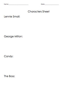 Of Mice and Men Characters Introduction w/ ANSWER KEY