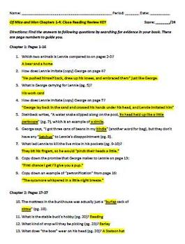 Of Mice and Men: Close Reading Review of CH 1-4