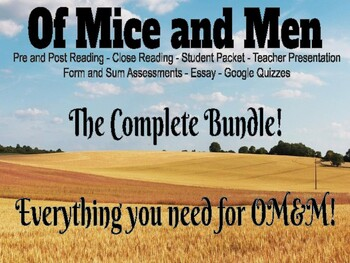 Of Mice and Men Complete Unit Close Reading and Assessment Bundle 5-6 Weeks