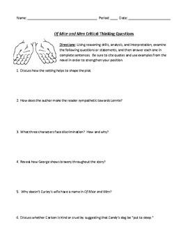 Of Mice and Men Comprehensive Short-Answer Worksheet or Assessment