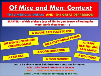 Of Mice and Men: Context - The American Dream and The Great Depression