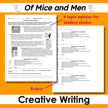 Of Mice and Men Creative Writing Assignment
