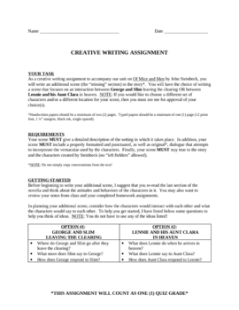Of Mice and Men Creative Writing Project