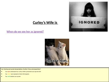 Of Mice and Men - Curley's Wife ignored!